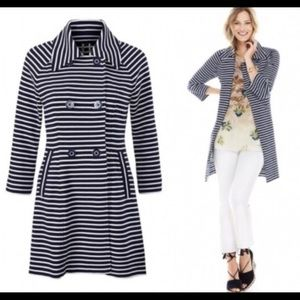 CAbi Maritime Trench Navy Striped Jacket